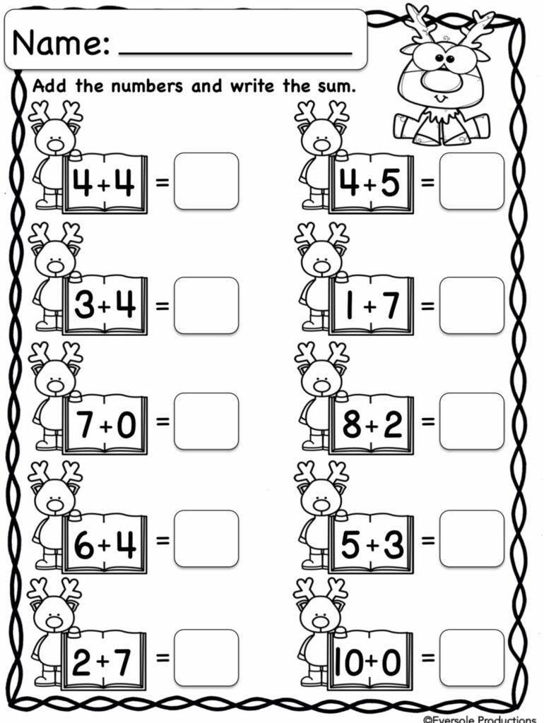 Christmas Math   Kindergarten Math Worksheets, Kindergarten