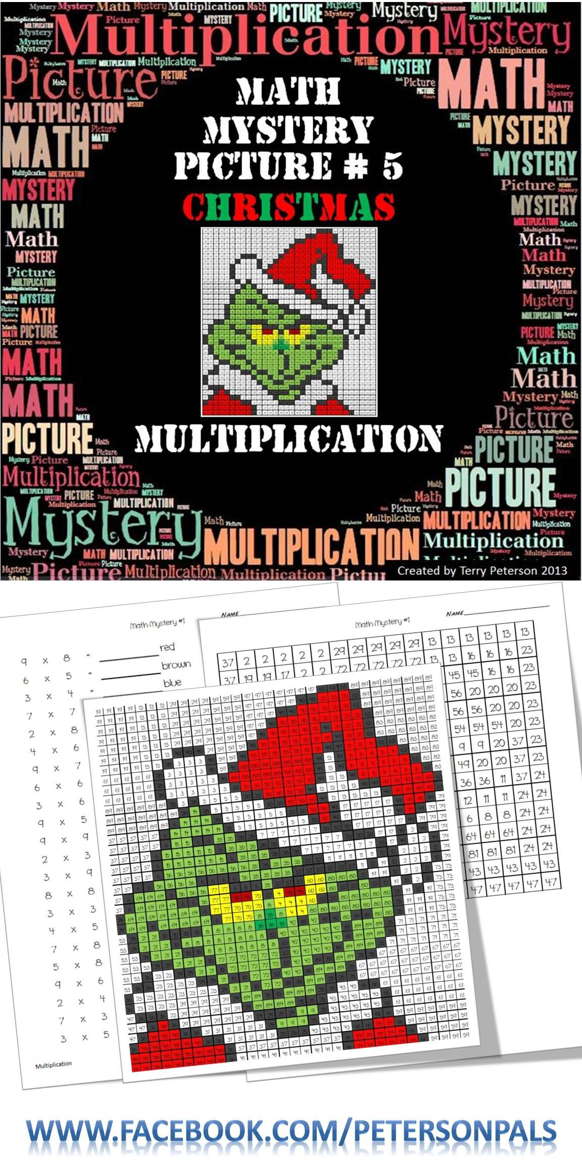 Christmas Math Mystery Picture #5 ~ Multiplication   Math