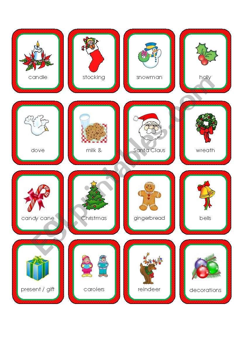 Christmas Memory Cards (16 Cards) - Esl Worksheetpinky Makus