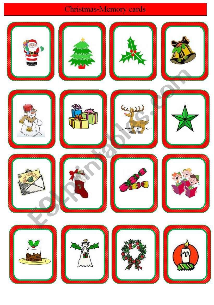 Christmas Memory Cards - Esl Worksheetrotkappe
