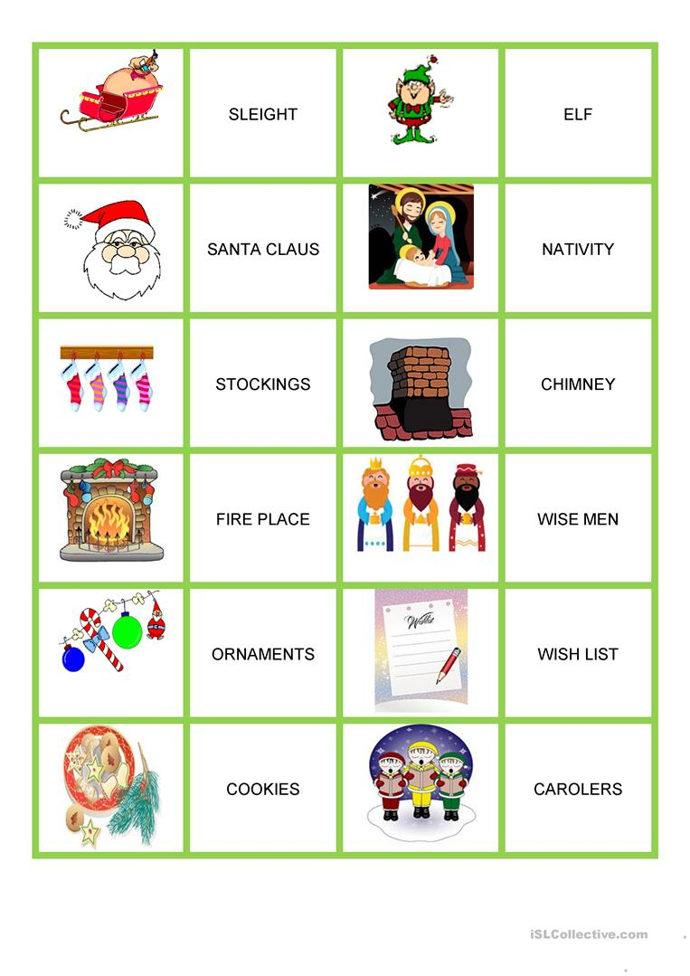 Christmas - Memory Game - English Esl Worksheets For
