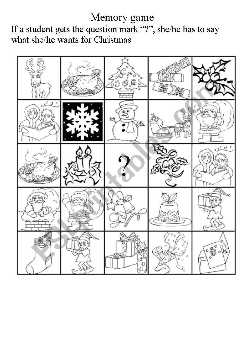 Christmas Memory Game - Esl Worksheetmelissacolo