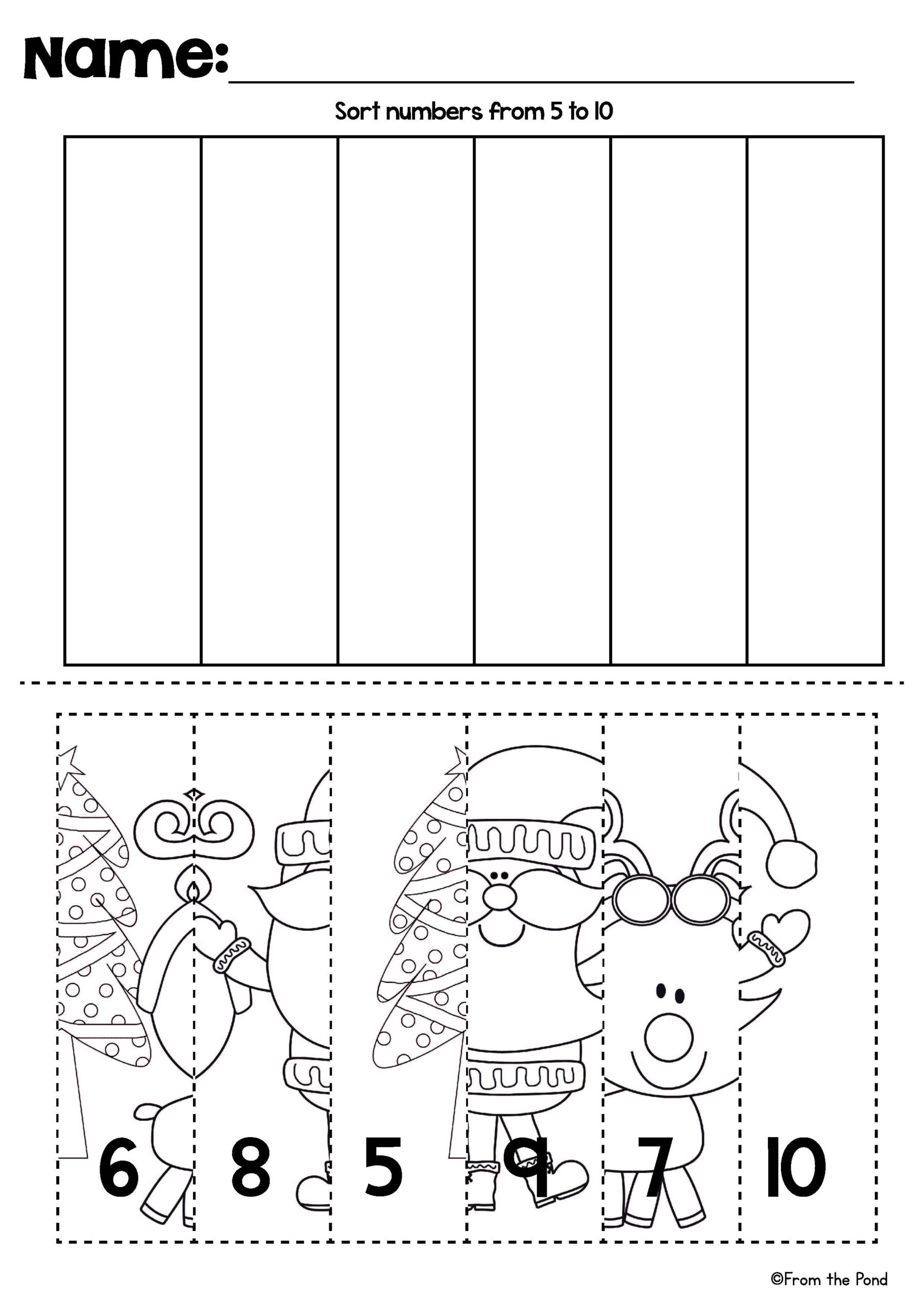 Christmas Number Line Puzzles | Christmas Worksheets
