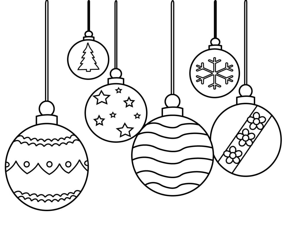 Christmas Ornament Coloring Pages Copy For Kids Free Easy