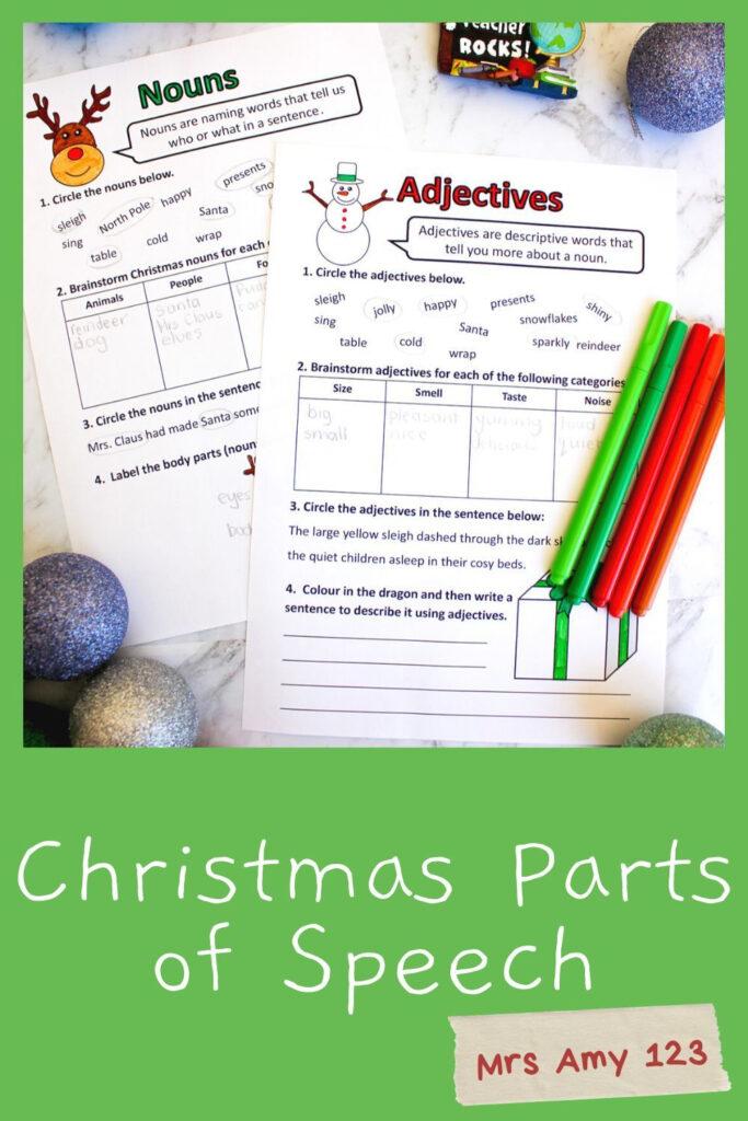 Christmas Parts Of Speech (Grammar) Worksheets  Nouns, Verbs