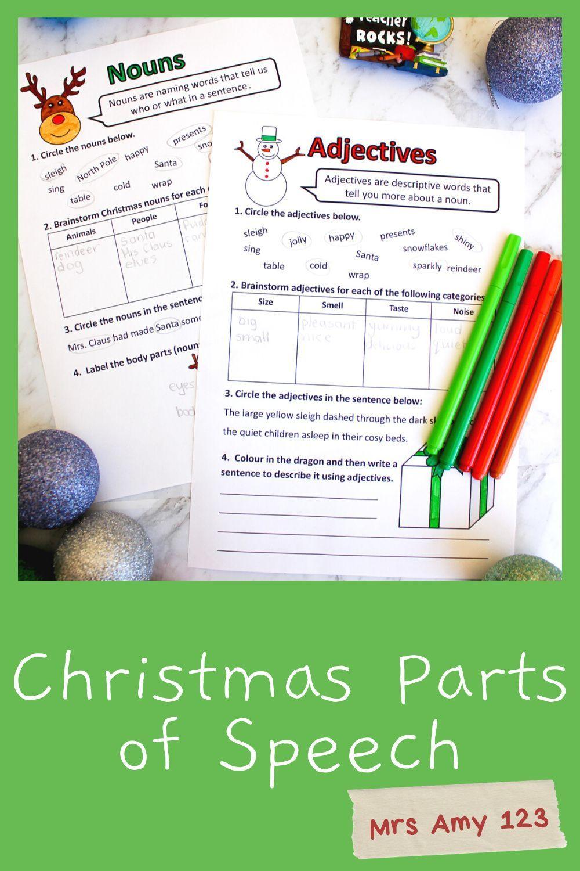 Christmas Parts Of Speech (Grammar) Worksheets- Nouns, Verbs