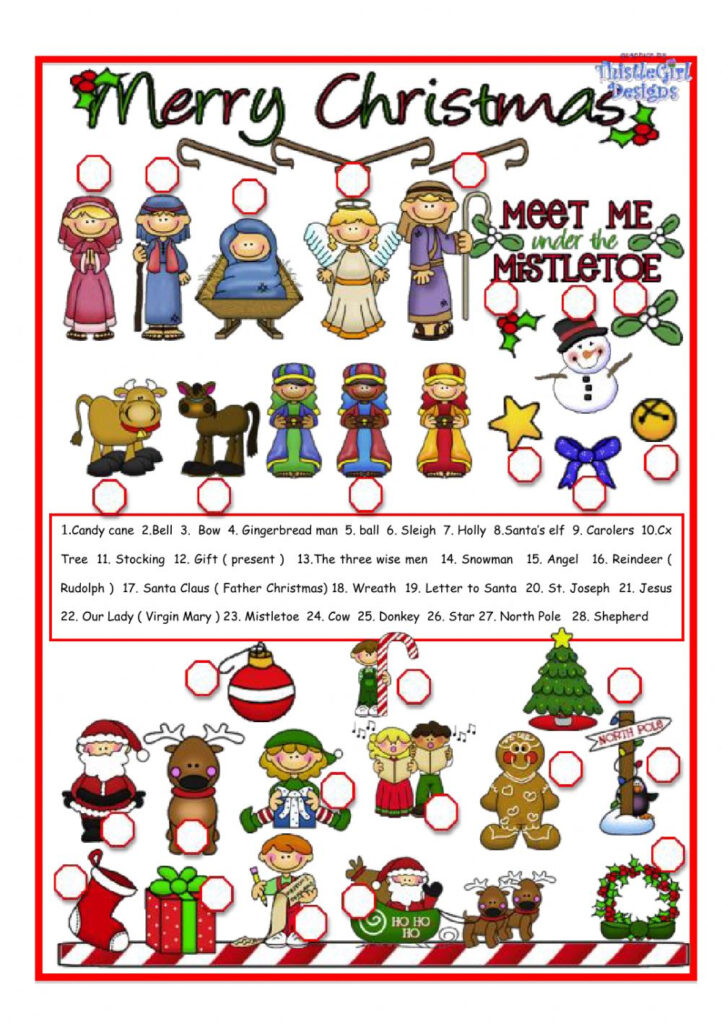 Christmas Pictionary Interactive Worksheet