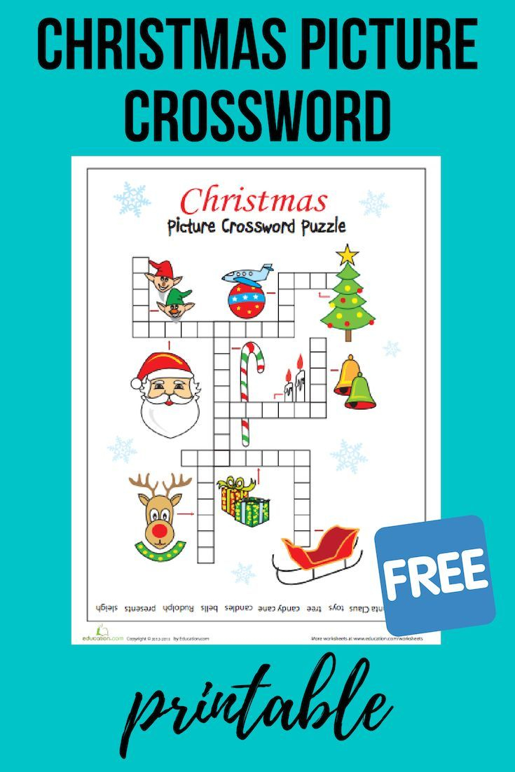 Christmas Picture Crossword | Worksheet | Education