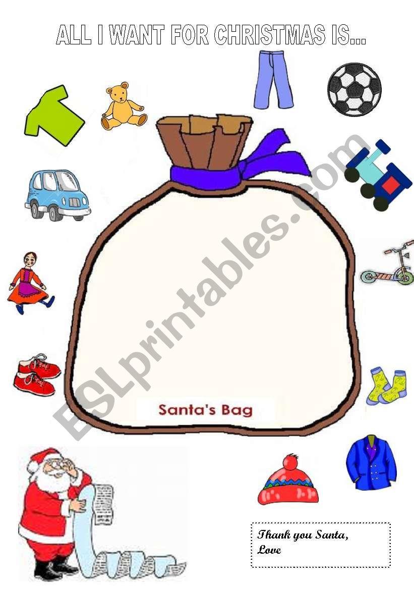 Christmas Present Bag - Esl Worksheetserife_R