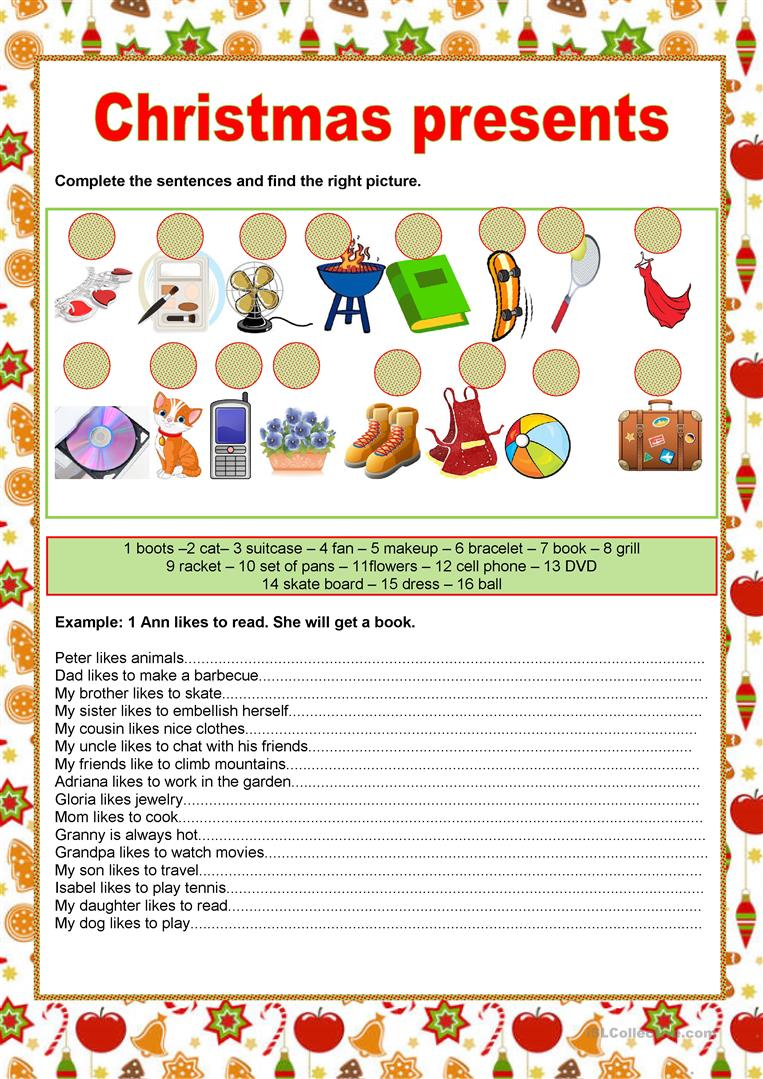 Christmas Presents - English Esl Worksheets For Distance