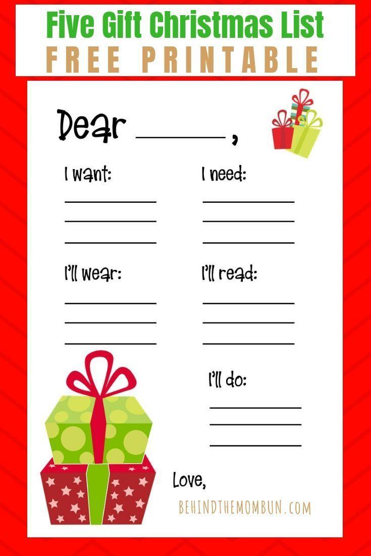 Christmas Printable Free 5 Gift List Printable - Behind The