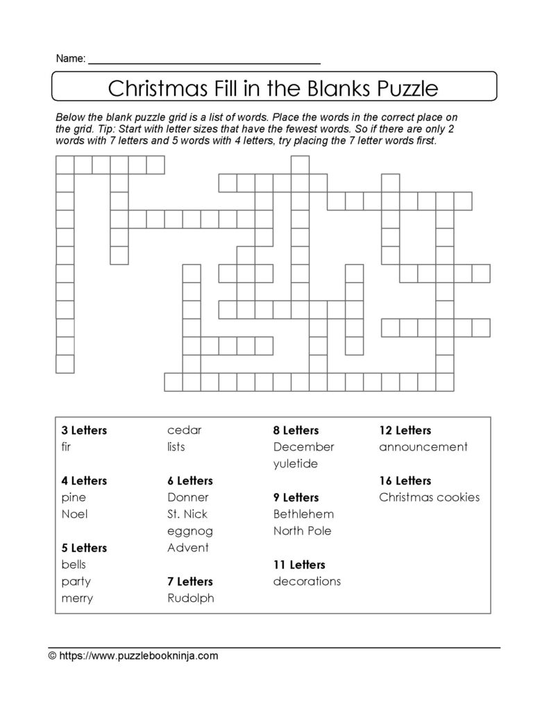 Christmas Printable Puzzle. Free Fill In The Blanks.   Fill