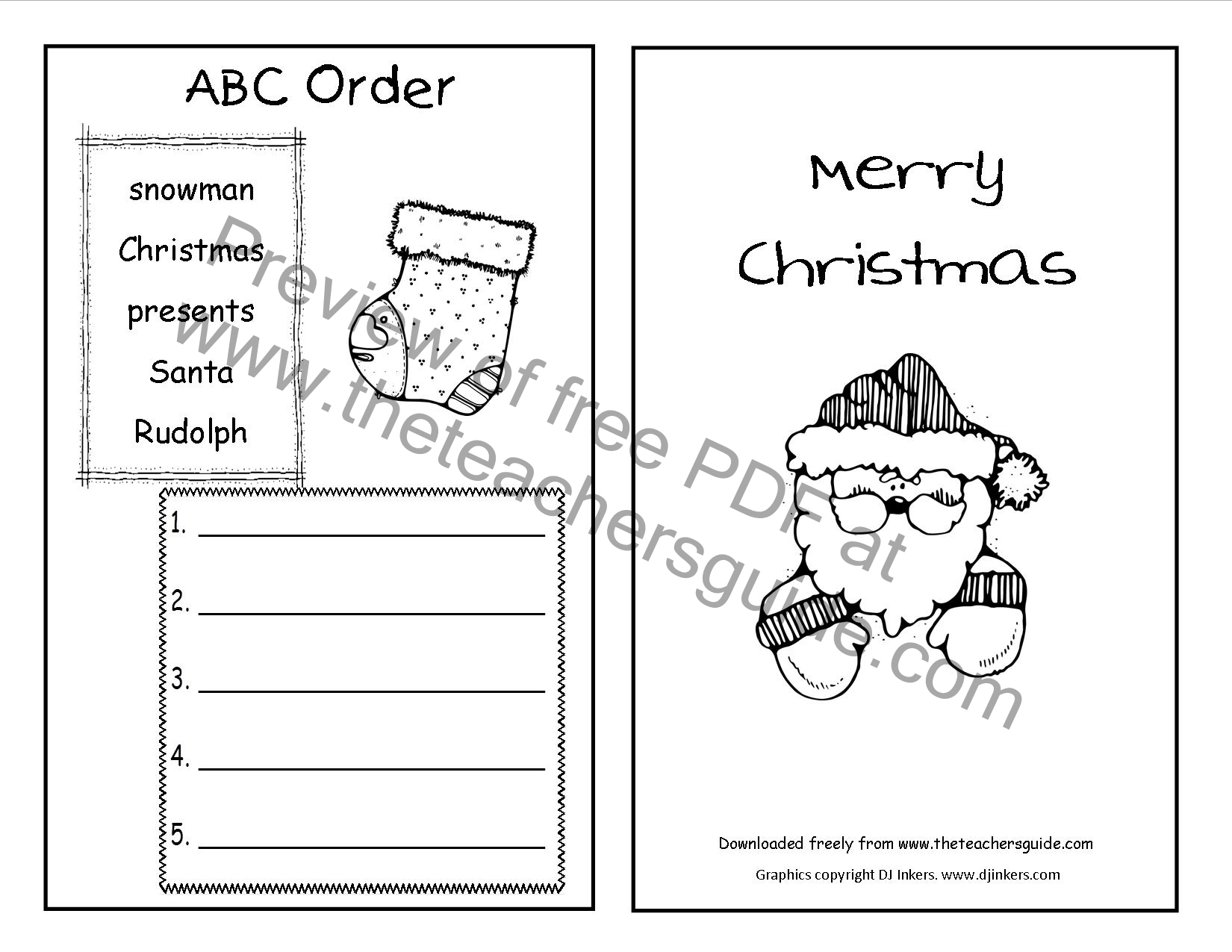 Christmas Printouts From The Teacher Guide Free Order