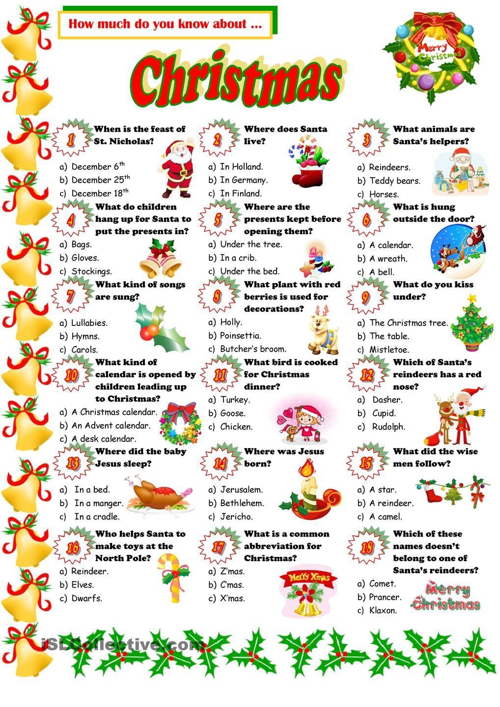 Christmas Quiz | Christmas Quiz, Christmas Worksheets