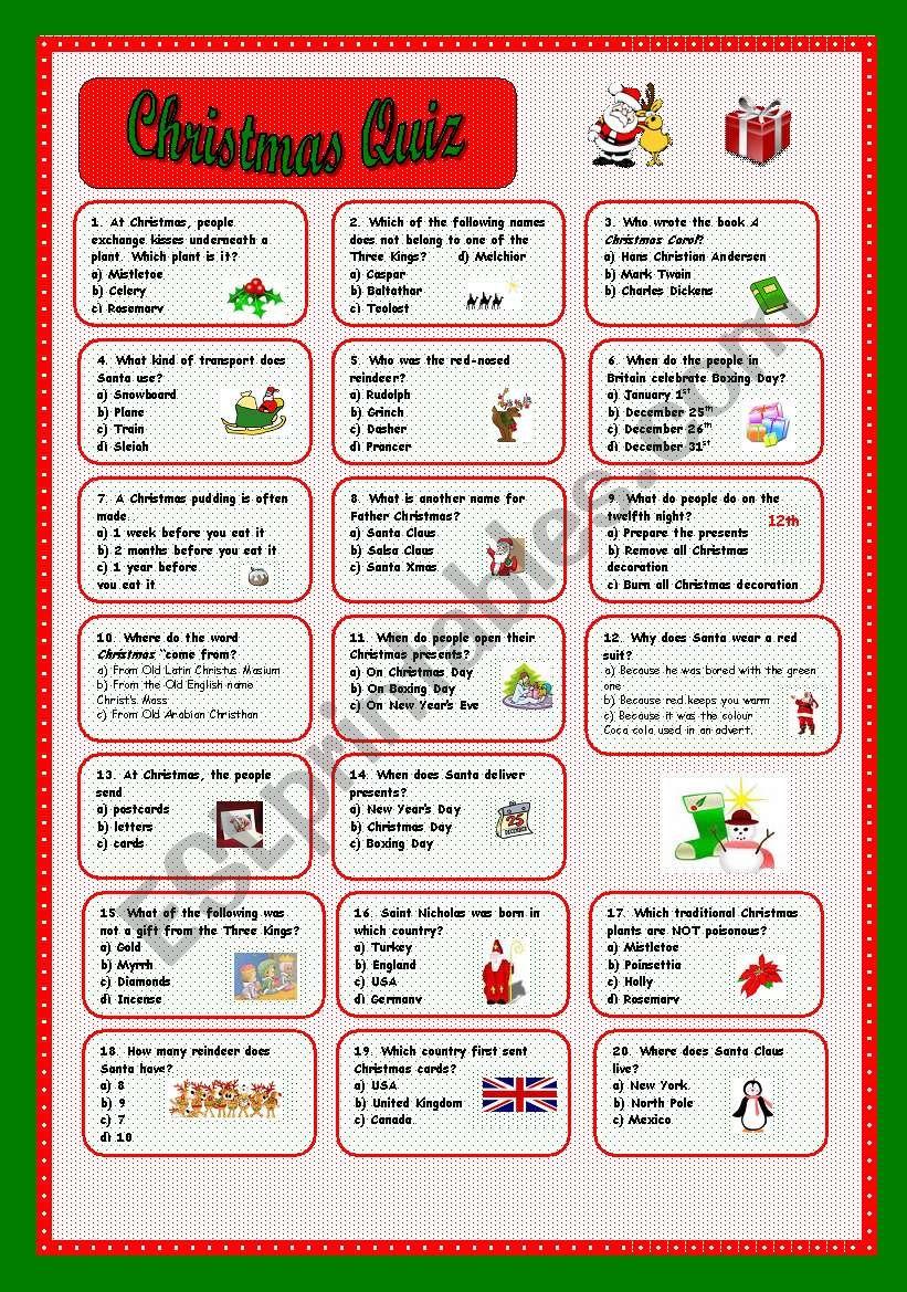Christmas Quiz - Esl Worksheetcoyote.chus
