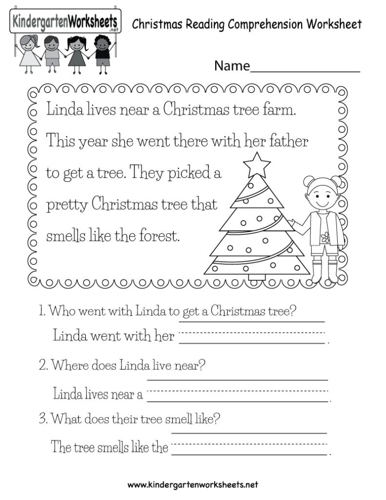 Christmas Reading Worksheet   Free Kindergarten Holiday