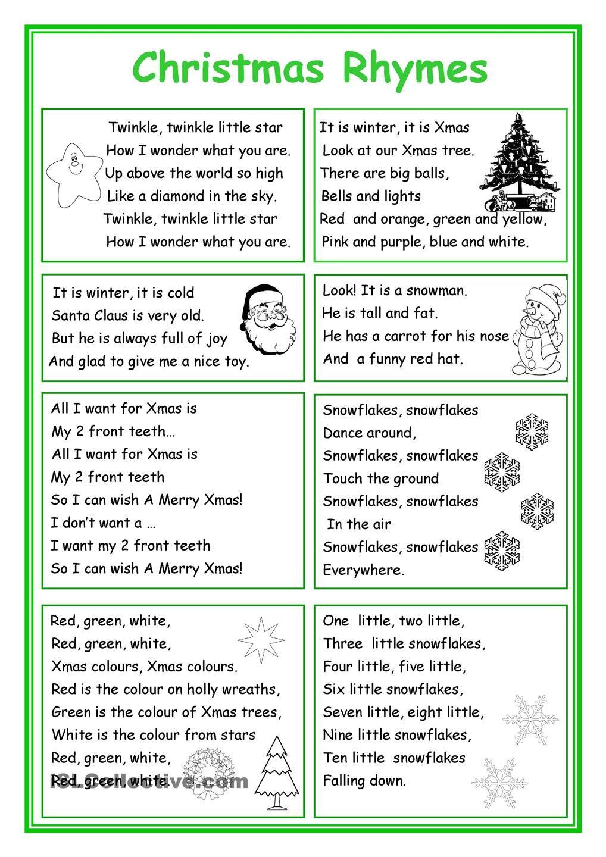 Christmas Rhymes | Christmas Worksheets, Christmas Poems