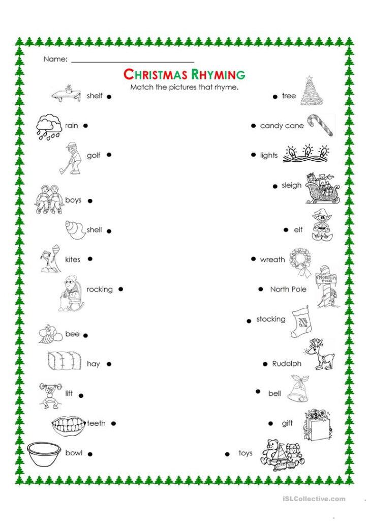 Christmas Rhyming   English Esl Worksheets For Distance