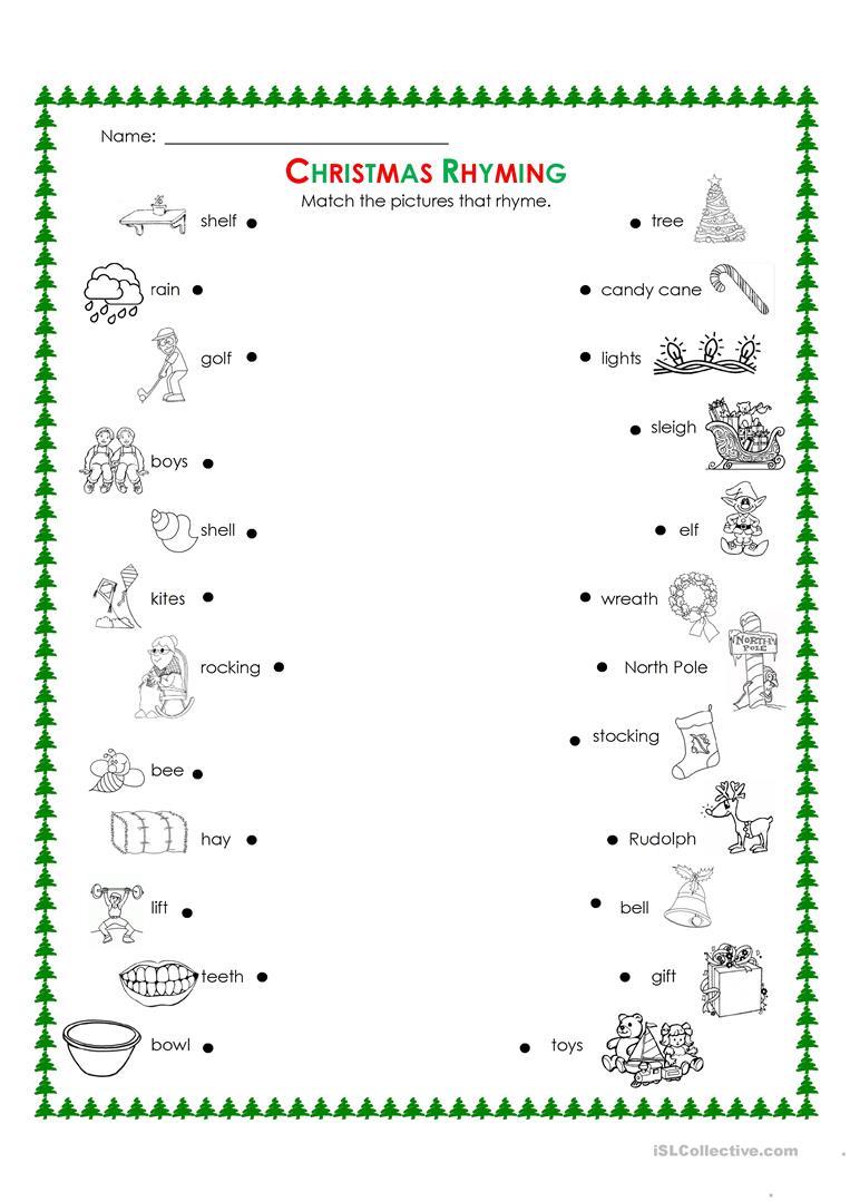 Christmas Rhyming - English Esl Worksheets For Distance