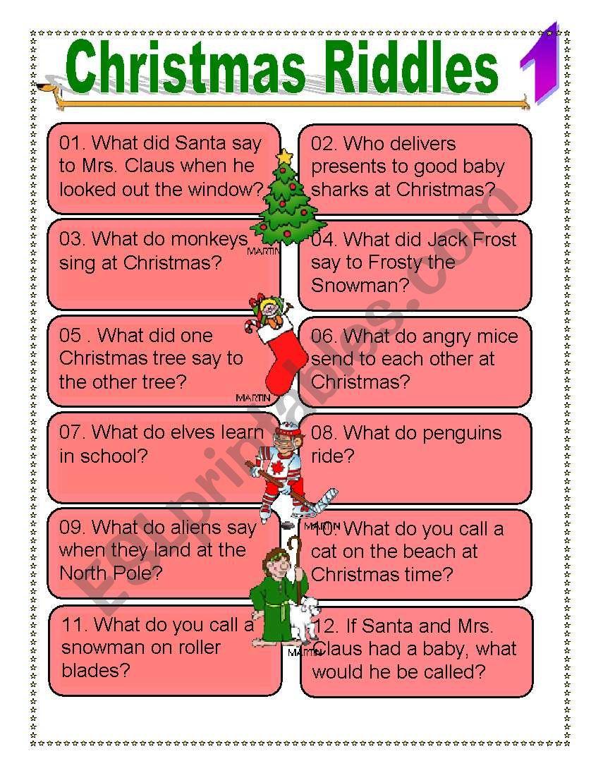 Christmas Riddles For Everyone - Esl Worksheetdturner