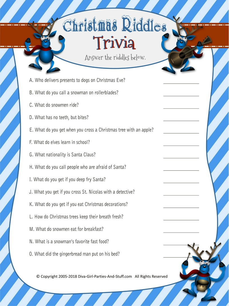 Christmas Riddles Trivia Game | 2 Printable Versions With