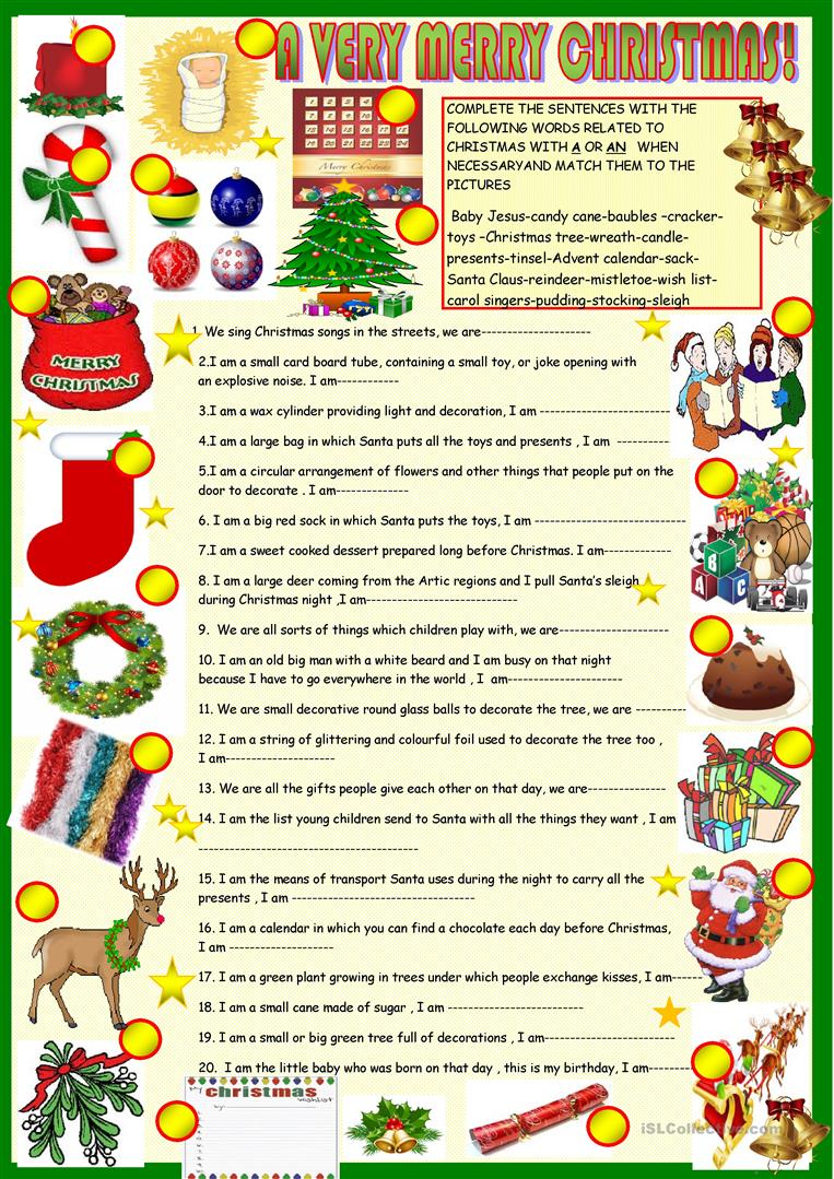 Christmas Riddles With Key - English Esl Worksheets For