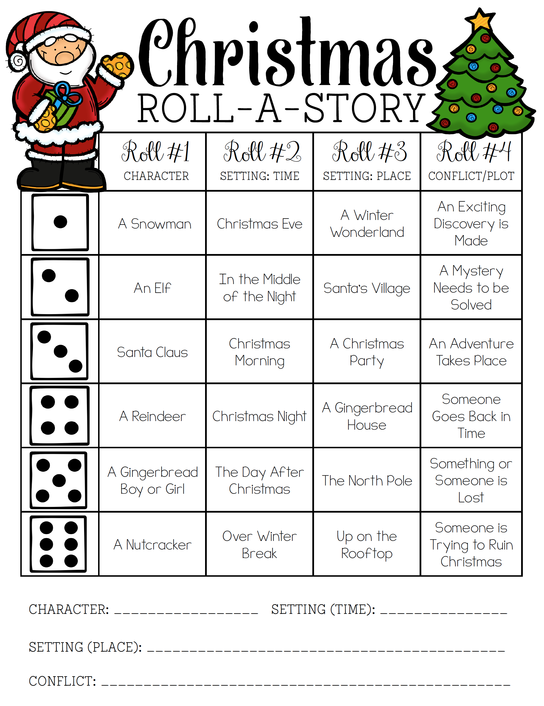 Christmas Roll-A-Story | Christmas Writing, Christmas