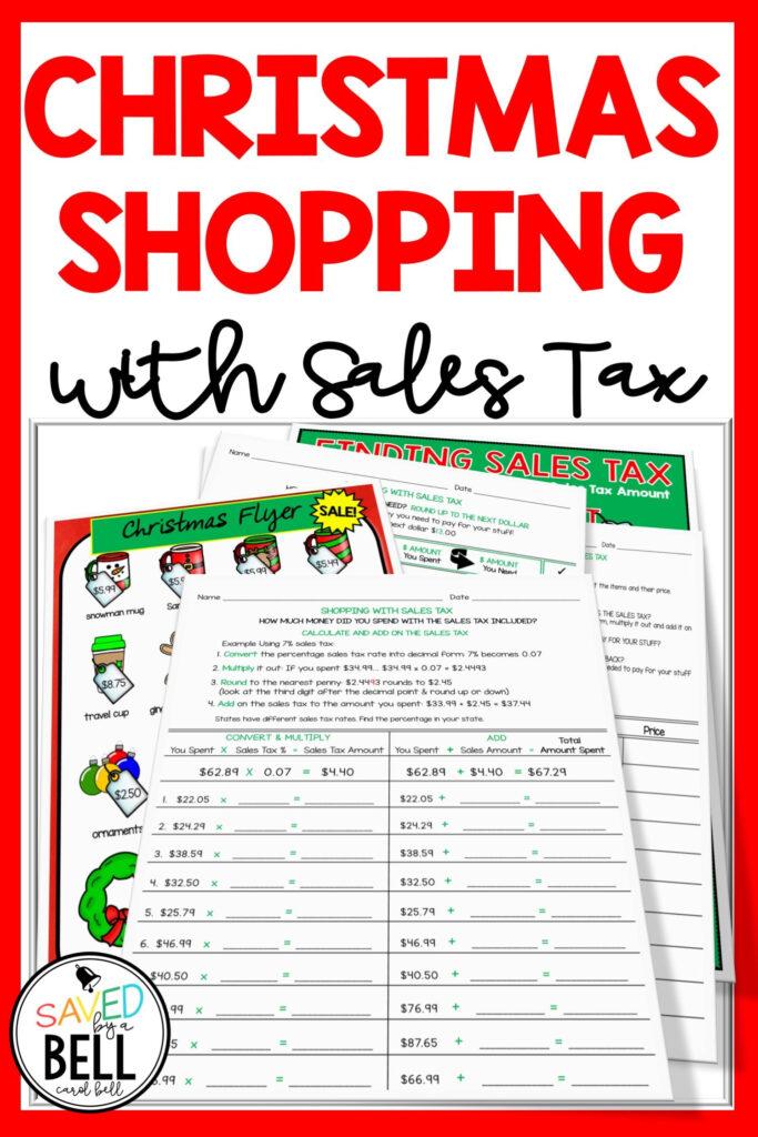 Christmas Sales Tax Worksheets   Holiday Math Worksheets