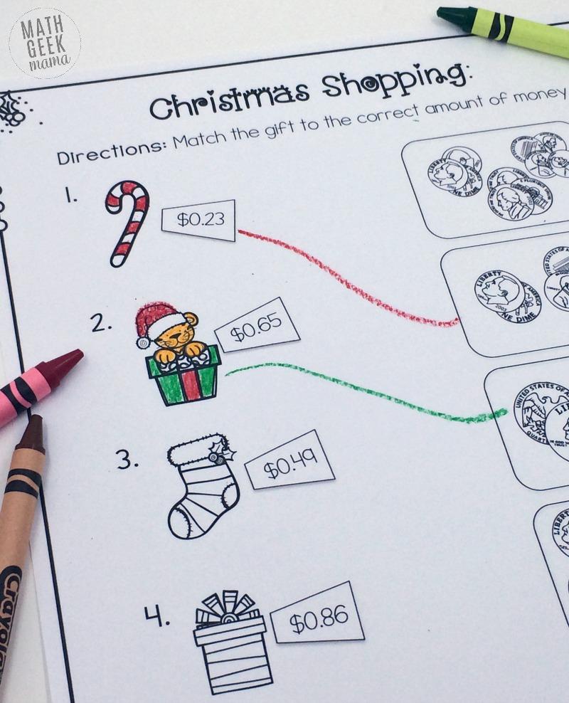 Christmas Shopping: Money Math Worksheets {Free}