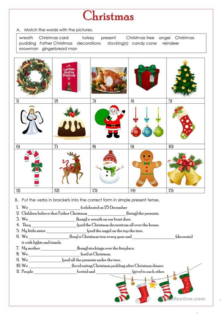 Christmas Simple Present Tense   English Esl Worksheets For