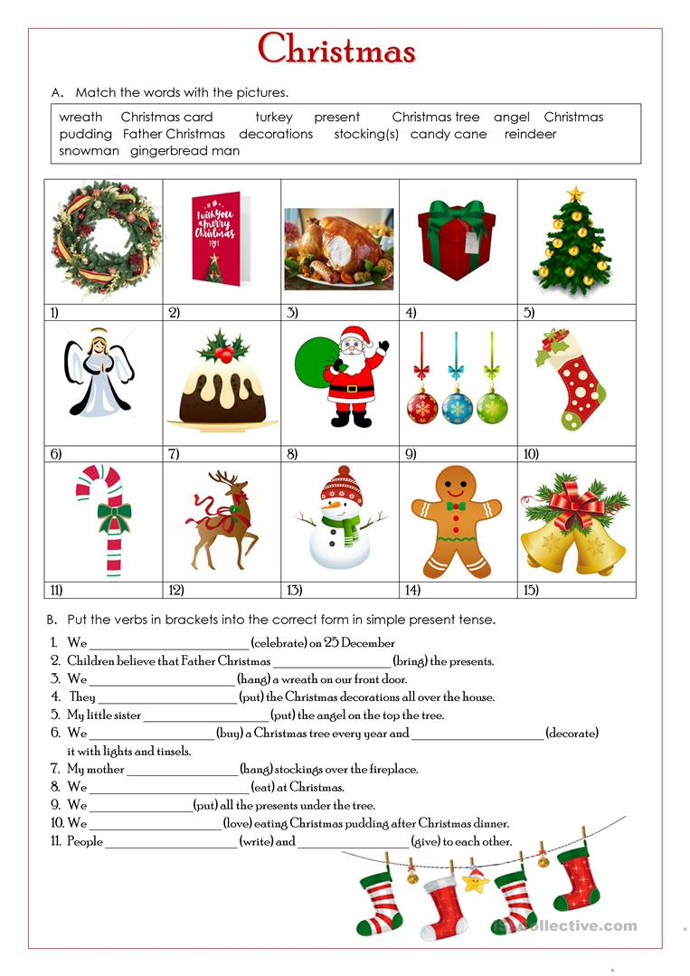 Christmas-Simple Present Tense - English Esl Worksheets For