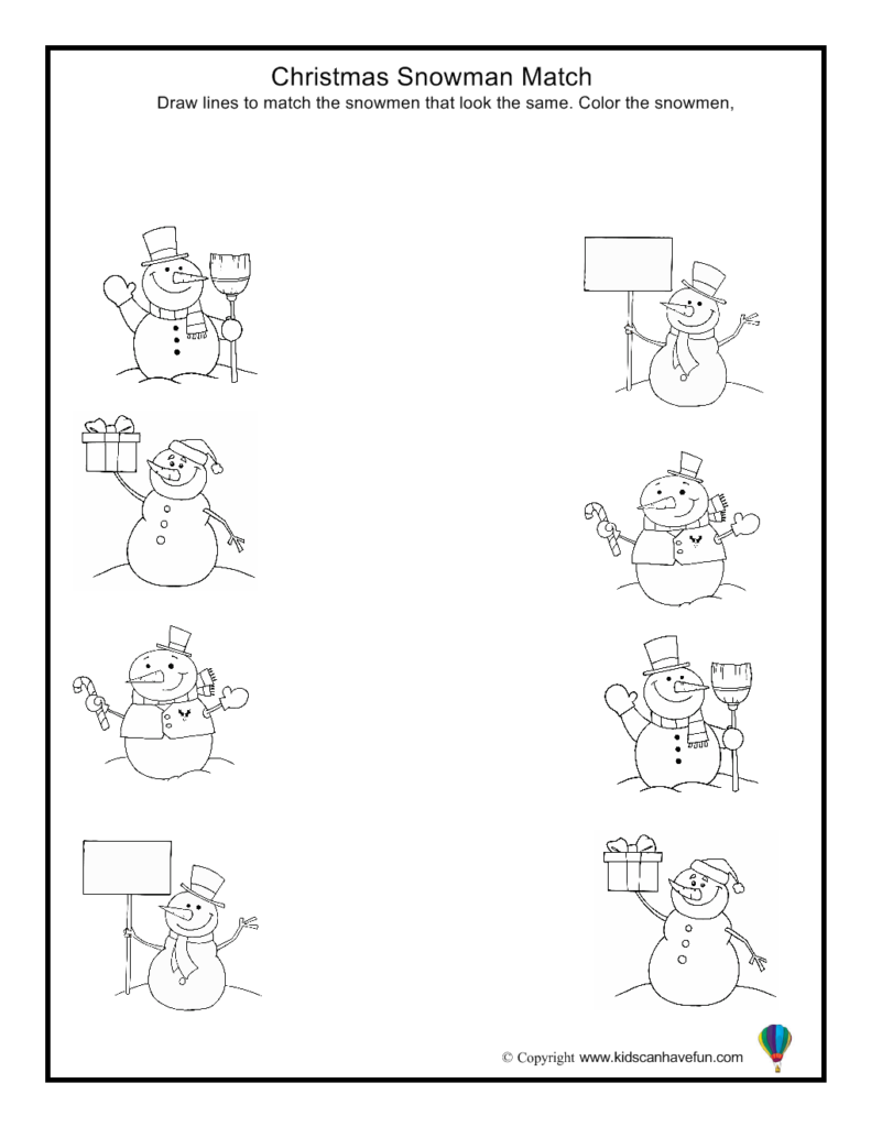 Christmas Snowman Match Worksheet | Inverno Pré Escolar