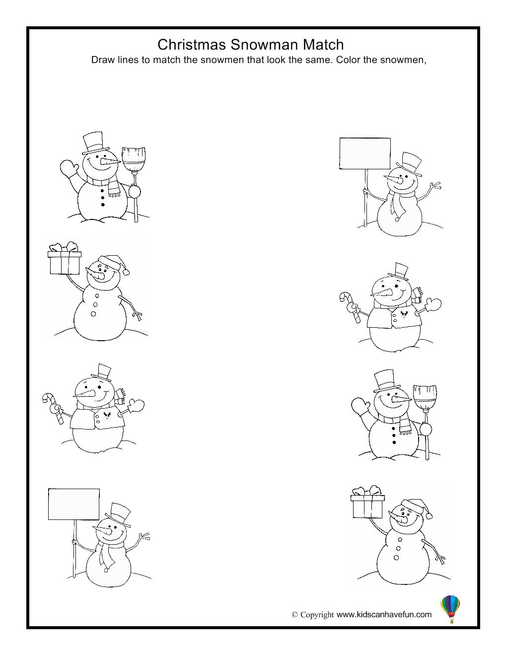Christmas Snowman Match Worksheet | Inverno Pré-Escolar
