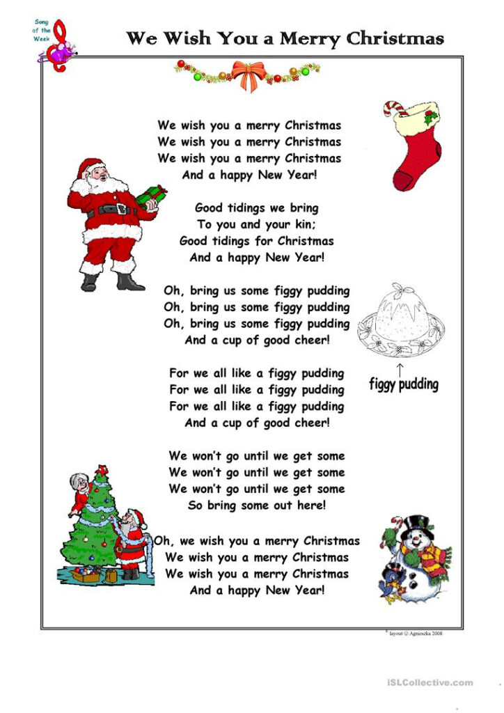 Christmas Song We Wish You A Merry Christmas   English Esl