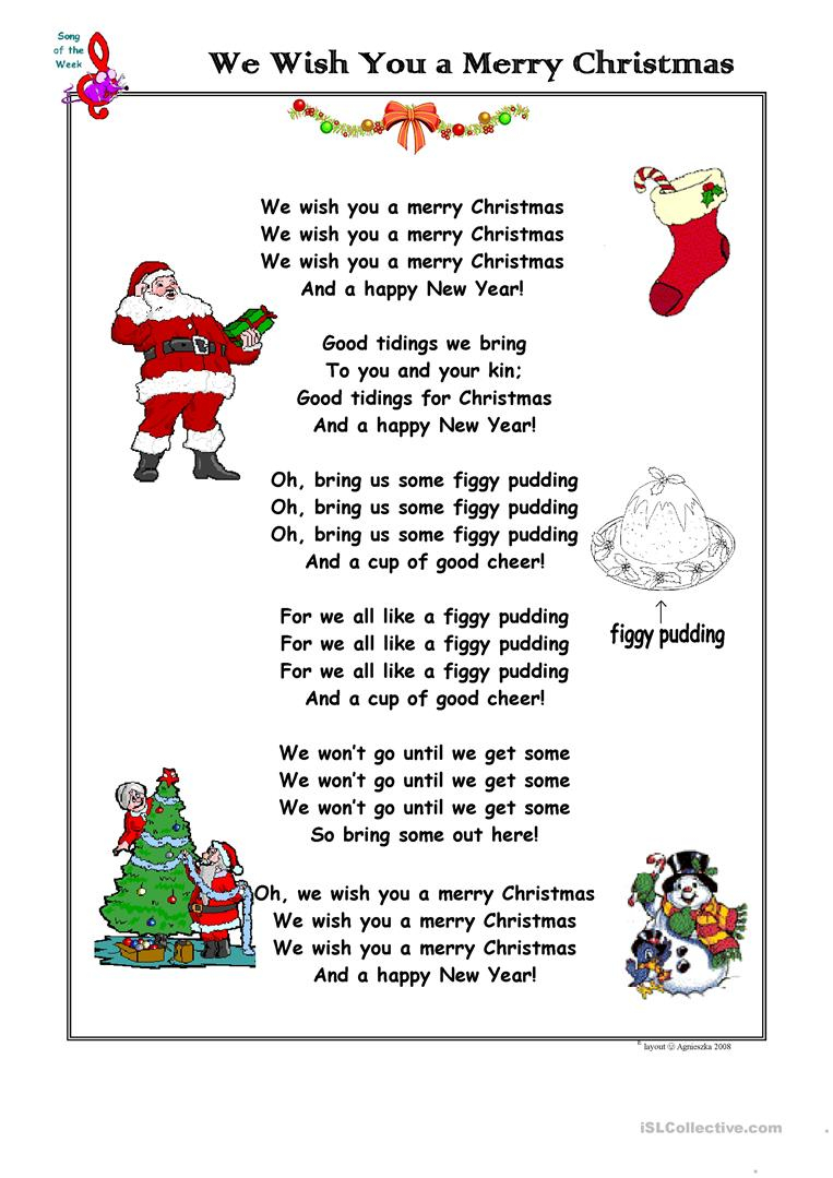 Christmas Song We Wish You A Merry Christmas - English Esl