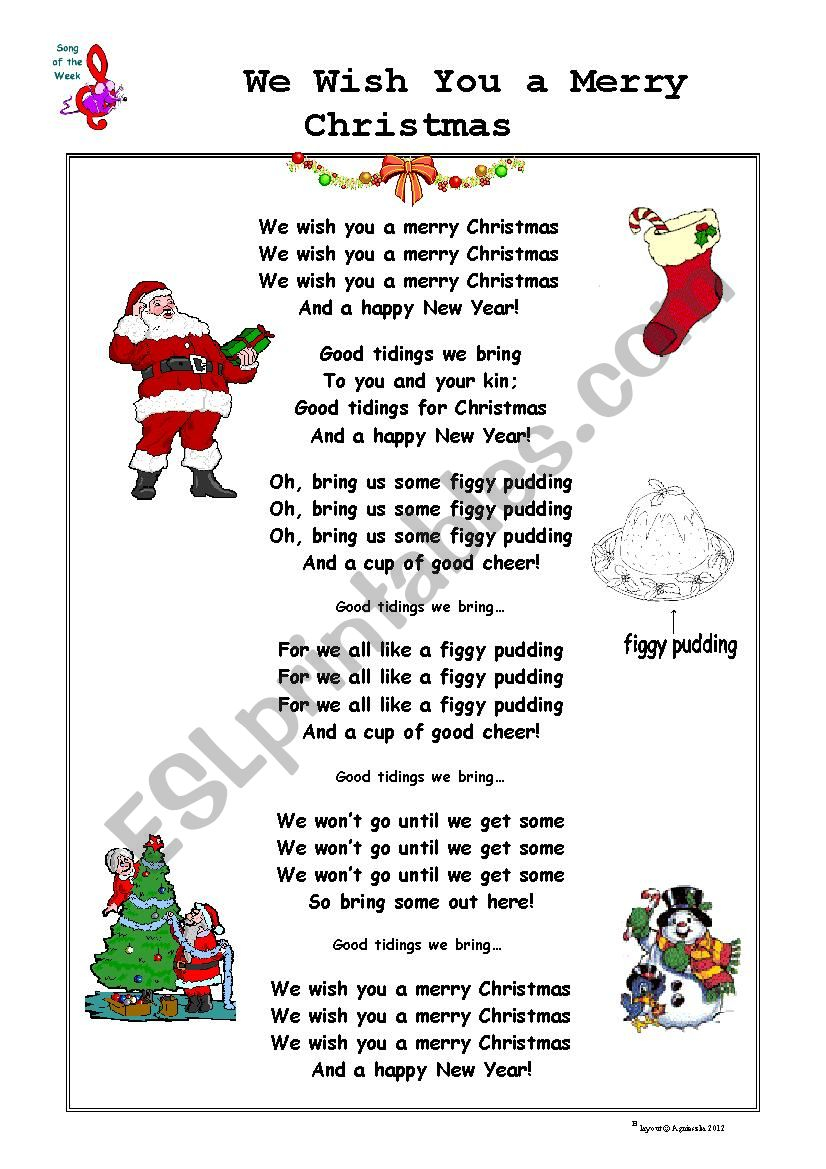 Christmas Song: We Wish You A Merry Christmas - Esl