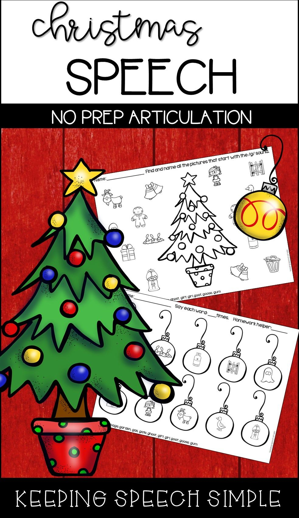 Christmas Speech No Prep Articulation Worksheets For Speech