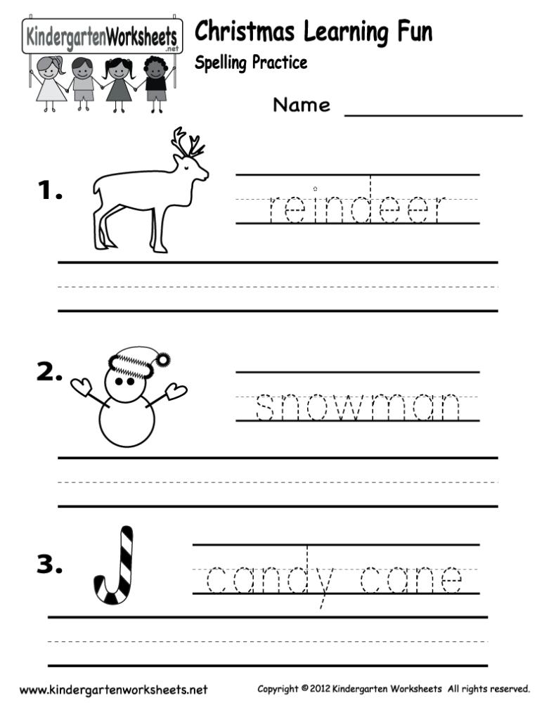 Christmas Spelling Worksheet   Free Kindergarten Holiday