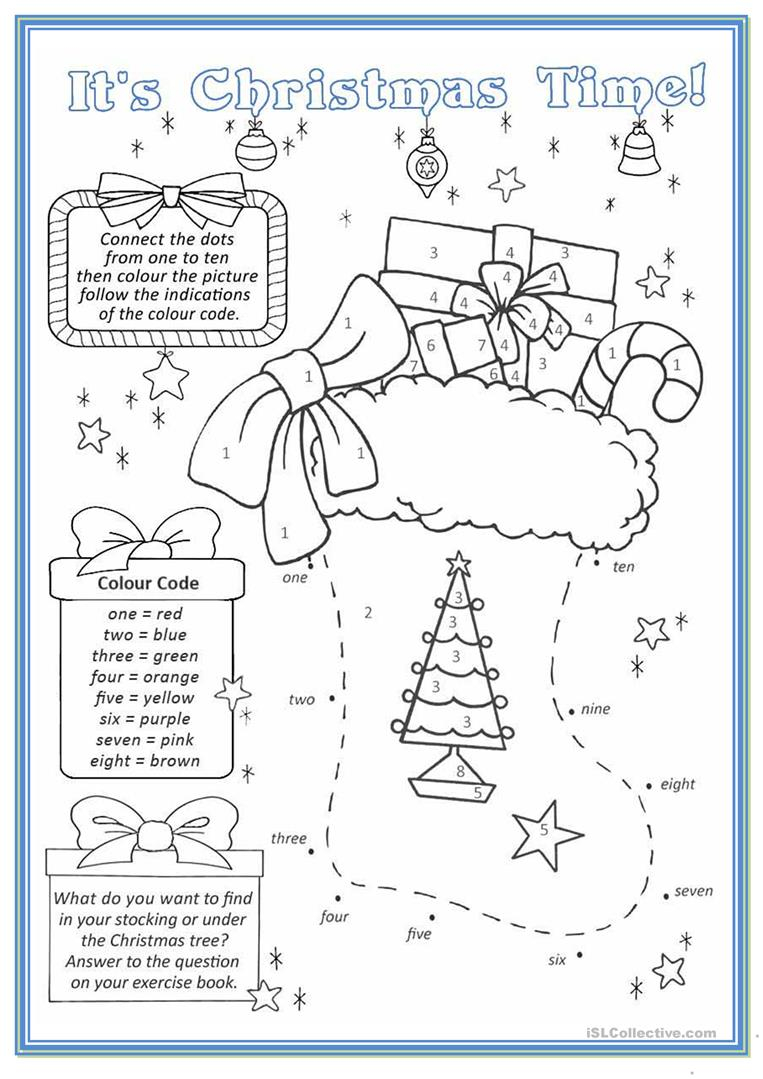 Christmas Stocking - English Esl Worksheets For Distance