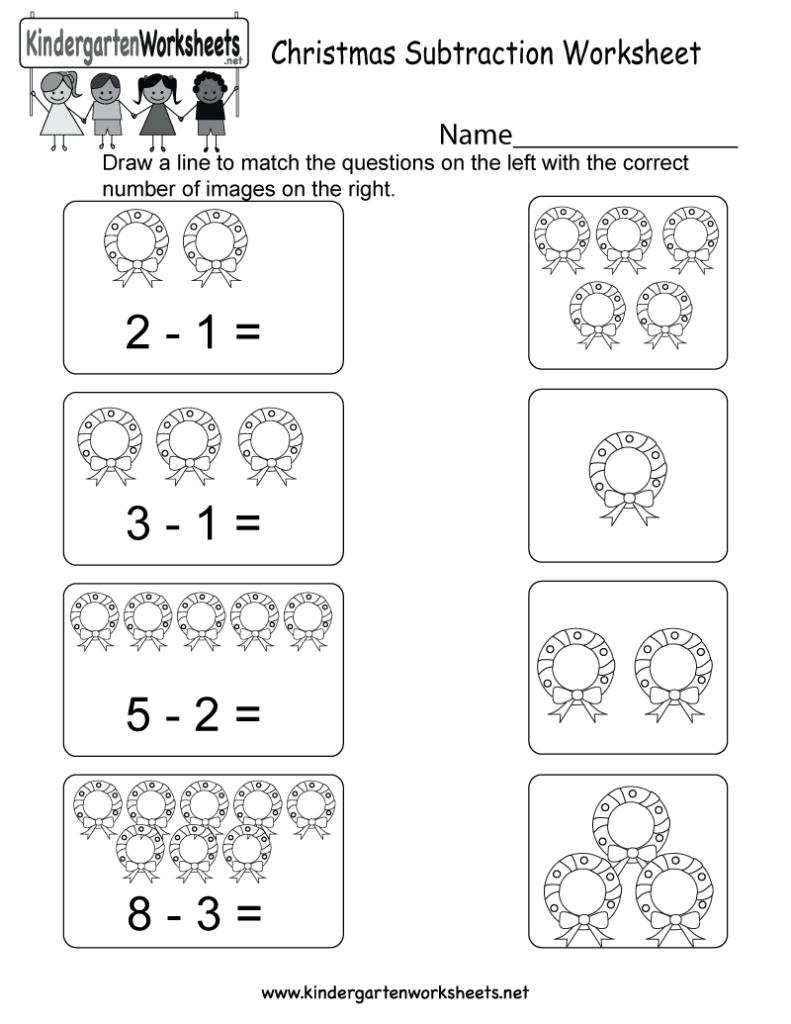 Christmas Subtraction Worksheet   Free Kindergarten Holiday