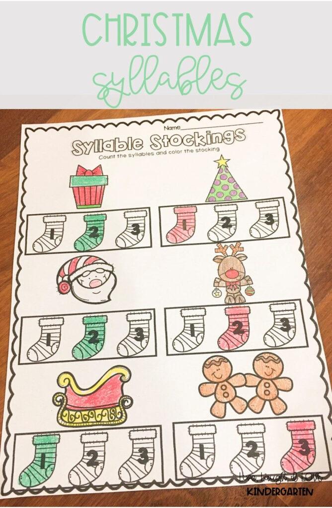 Christmas Syllables   Syllable Worksheet, December