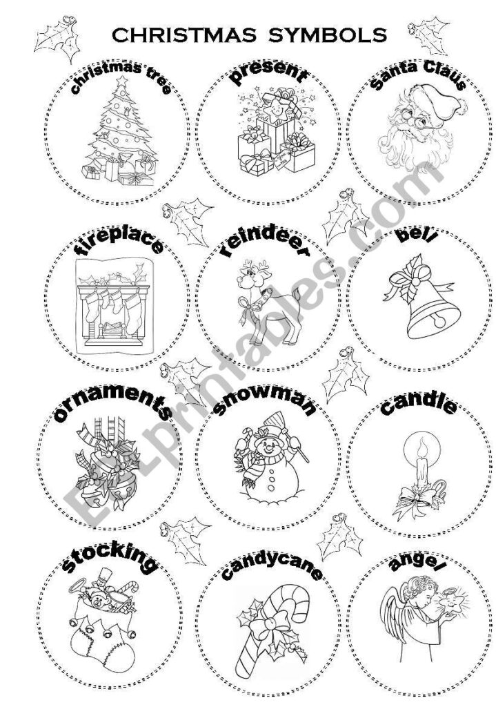 Christmas Symbols   Esl Worksheetpimrapat
