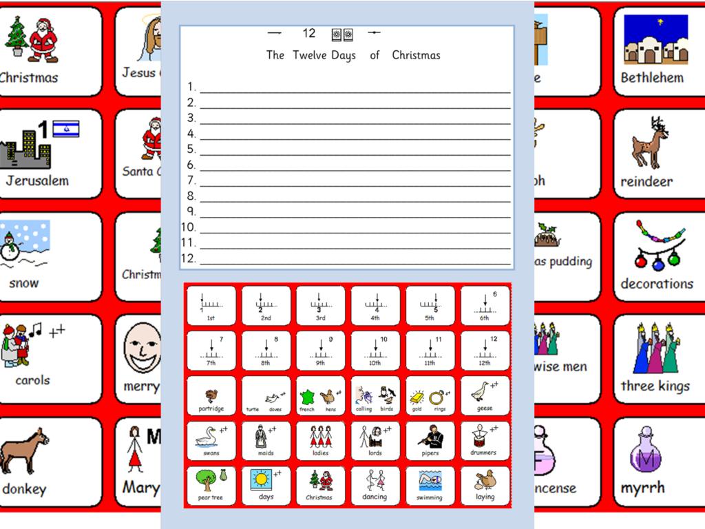 Christmas Symbols, The 12 Days Of Christmas Worksheet And Colours  Sen And  Lower Ability