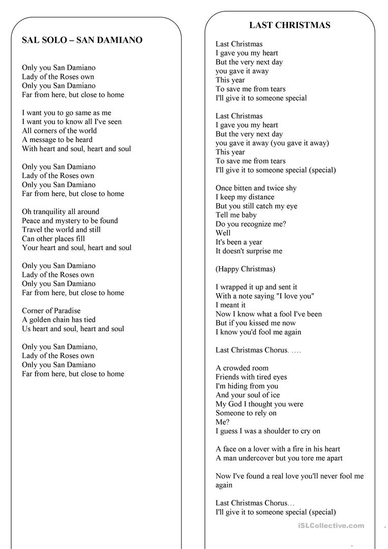 Christmas - The Lyrics Of 8 The Best Christmas Songs And