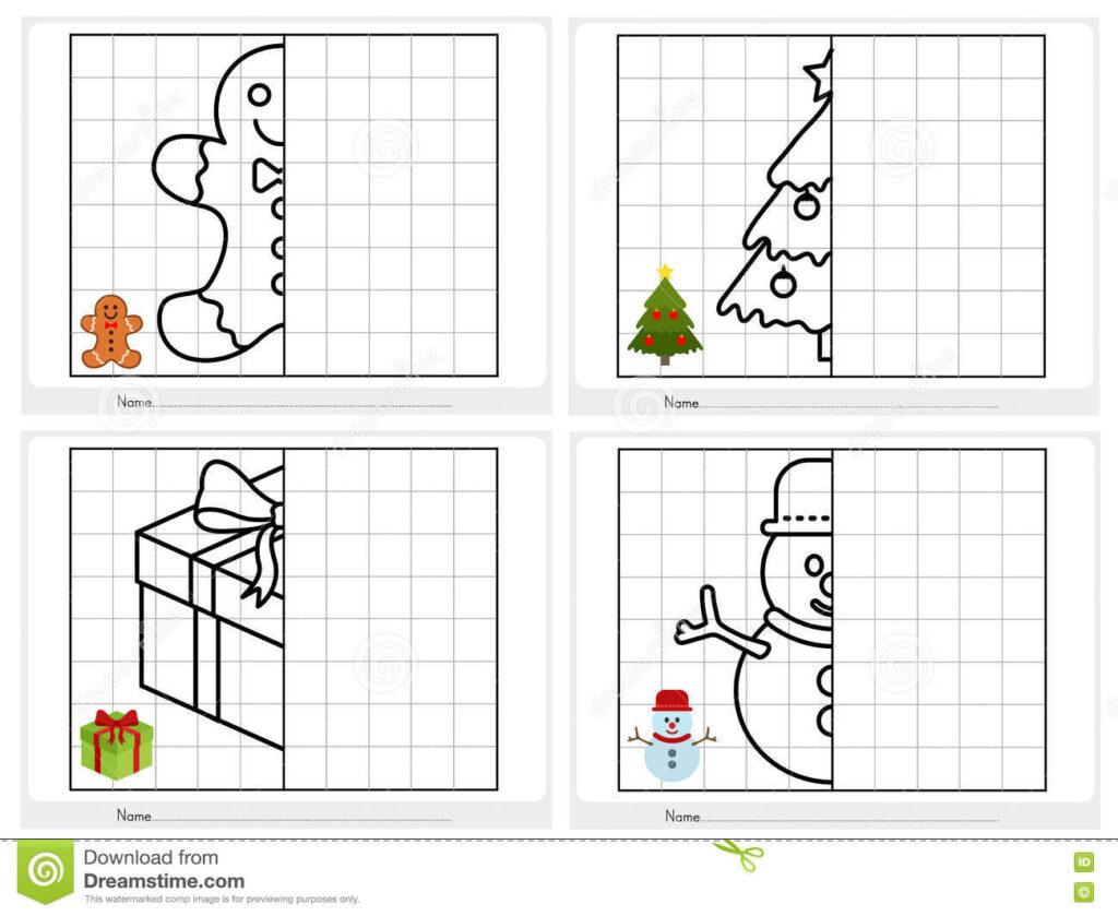 Christmas Theme Activity Sheet Symmetrical Stock Vector