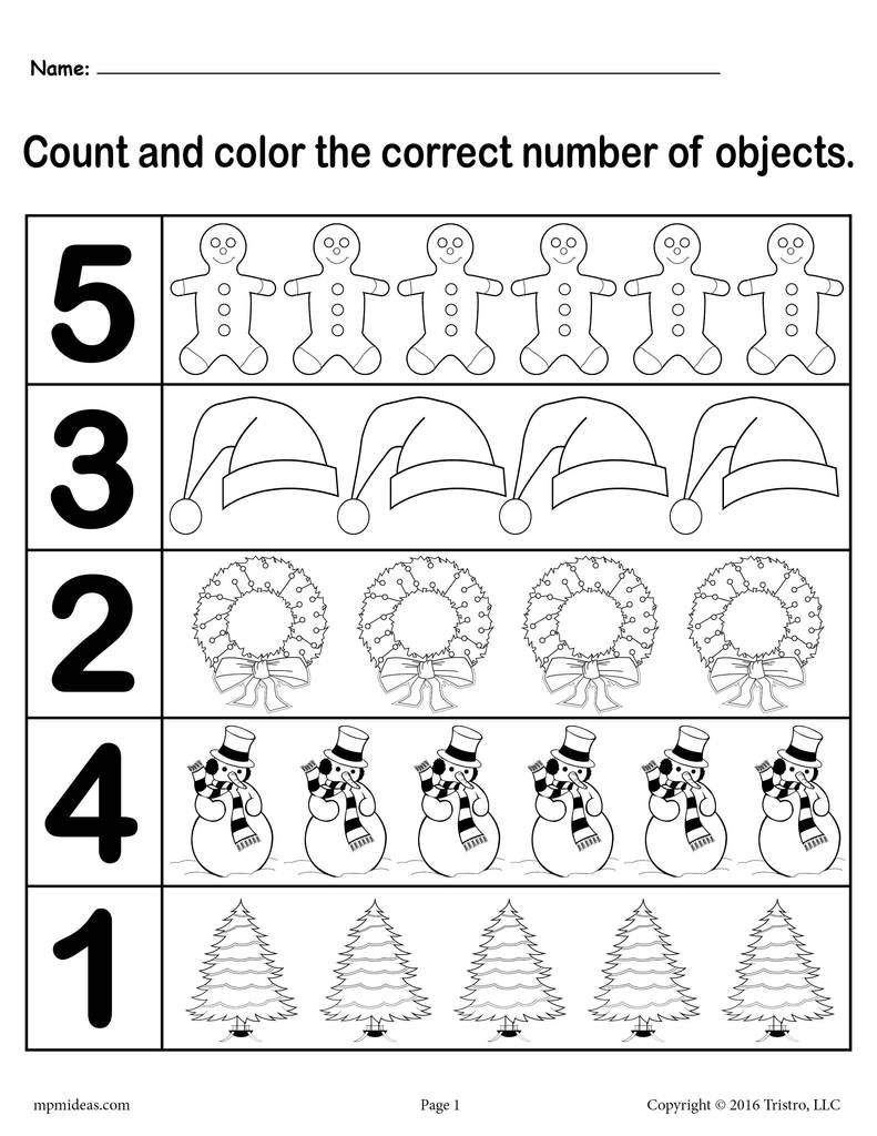 """Christmas Themed """"count And Color"""" Worksheets (3 Printable"""