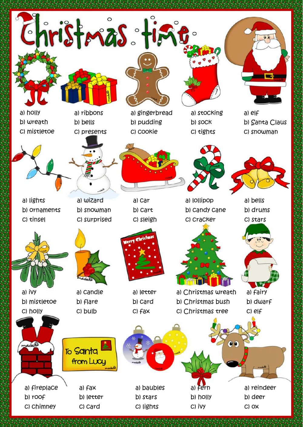 Christmas Time - Multiple Choice Worksheet