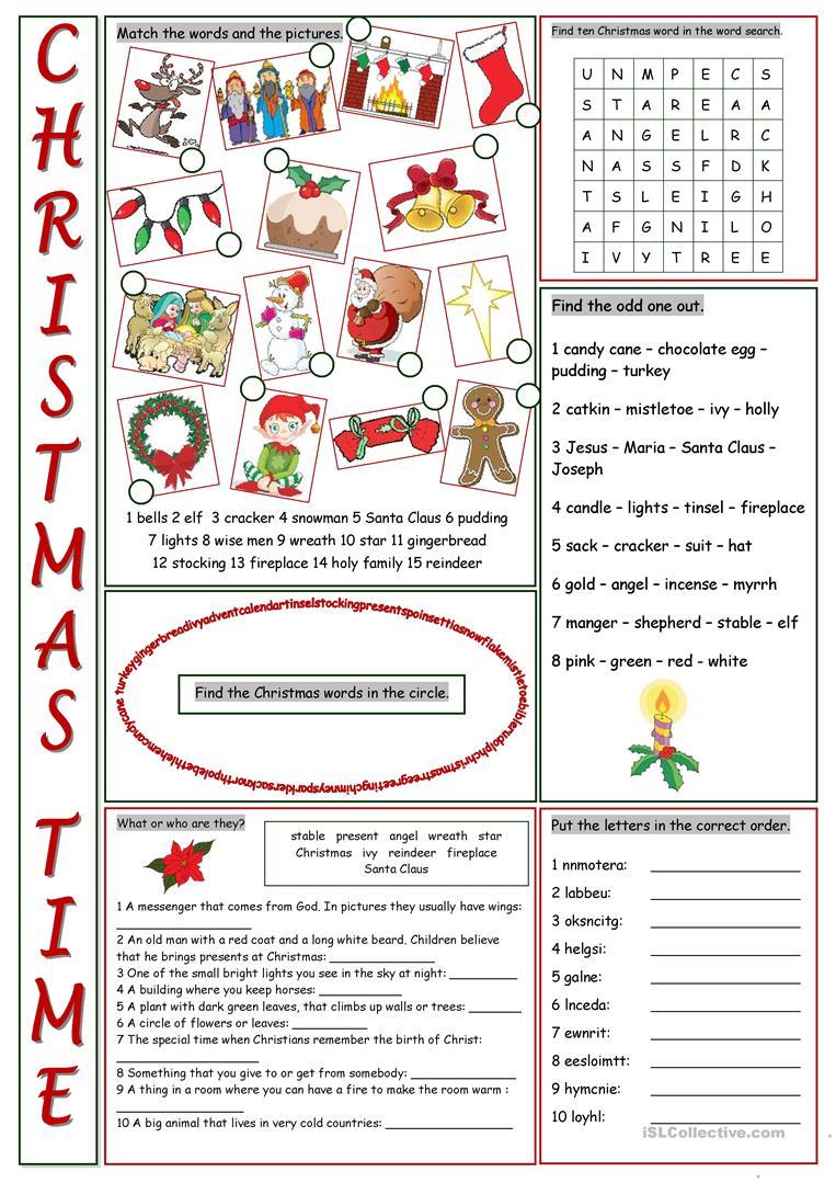 Christmas Time Vocabulary Exercises - English Esl Worksheets