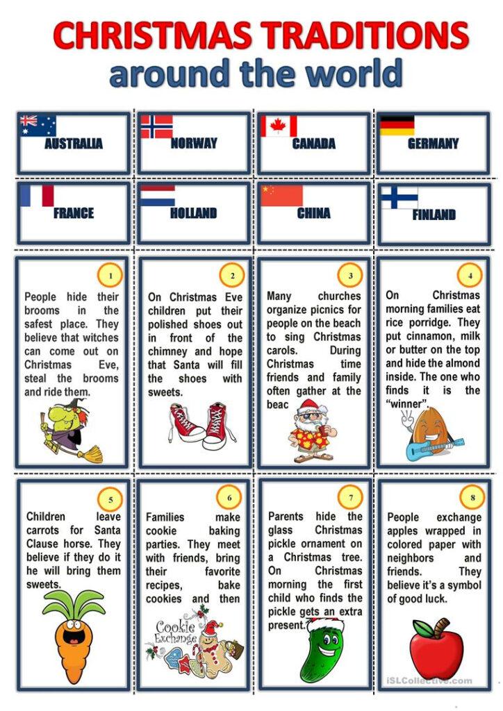 Christmas Traditions Around The World   English Esl