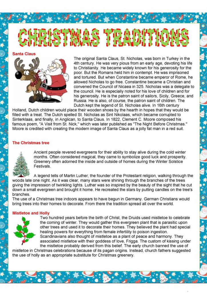 Christmas Traditions   English Esl Worksheets For Distance